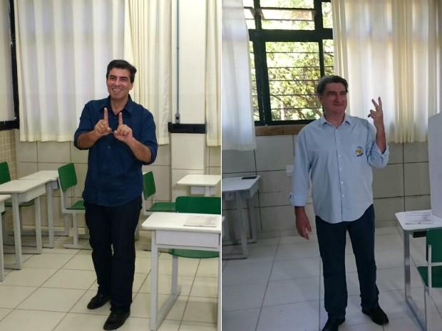 Marcelo Belinati (PP) e Valter Orsi (PSDB) votaram no mesmo colégio na manhã deste domingo (2) (Foto: Alberto D´Angele e Leopoldo Karam/RPC)