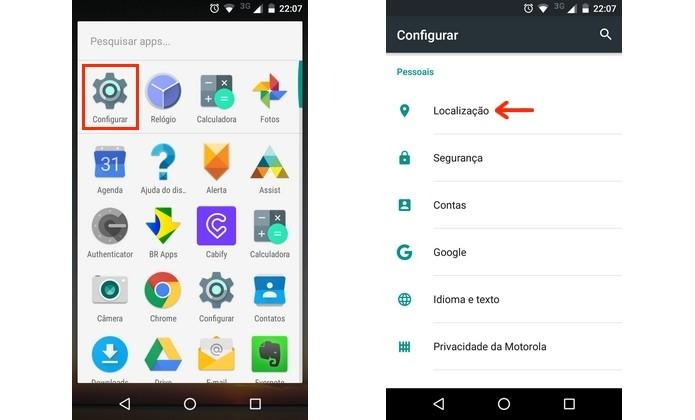 Caminho para menu de localização do Android (Foto: Reprodução/Raquel Freire)
