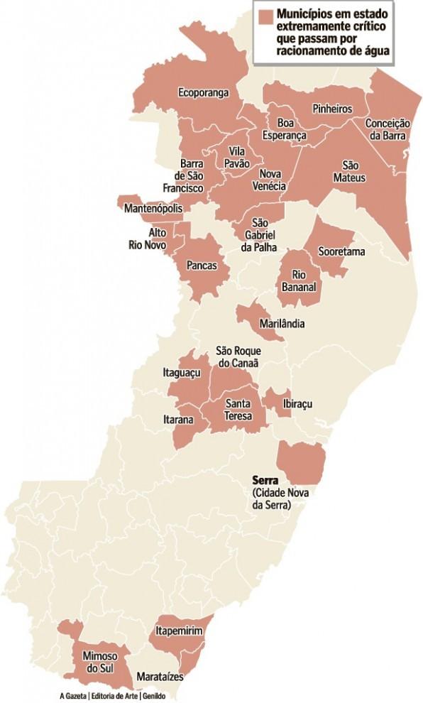 Municípios em situação de seca no estado (Foto: Arte/ A Gazeta)