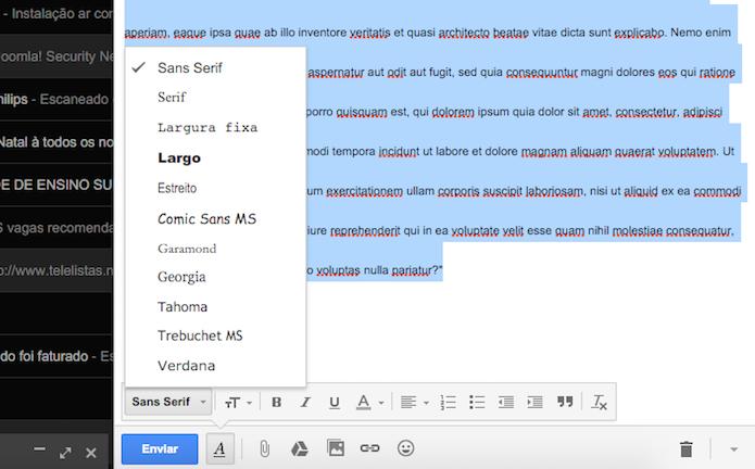 Opções para formatação de texto do Gmail (Foto: Reprodução/Marvin Costa)