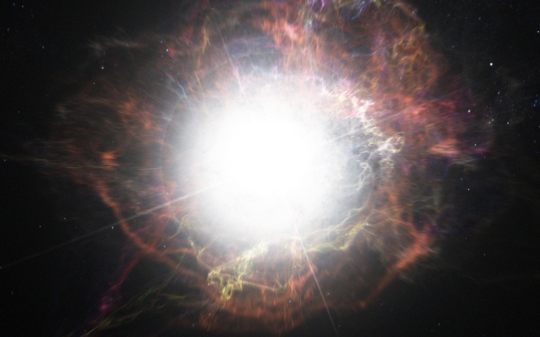 Ilustração hipotética de como seria uma supernova (Foto: European Southern Observatory/M. Kornmesser.)