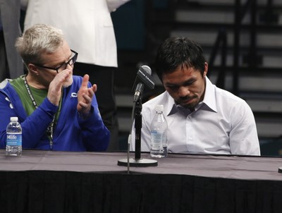 Manny Pacquiao, Freddie Roach, coletiva pós luta Mayweather (Foto: Evelyn Rodrigues)