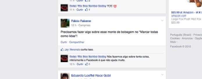 Membros da comunidade de tradução comentam sobre erro no link das notificações (Foto: Reprodução/Facebook)