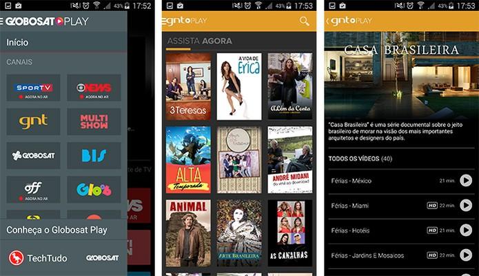 App da Globosat Play oferece diversos programas e séries para os usuários  (Foto: Reprodução/Barbara Mannara)