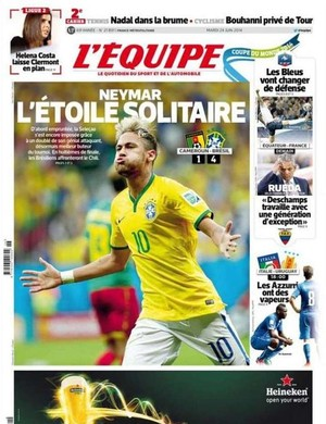 Neymar, capas jornal L'Equipe (Foto: Reprodução)