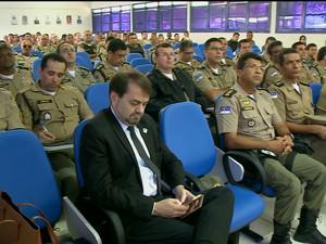 Policiais militares participam de reunião com TRE-Pe em Petrolina (Foto: Reprodução/TV Grande Rio)