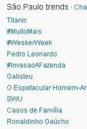 Trending Topics em SP às 18h (Foto: Reprodução)