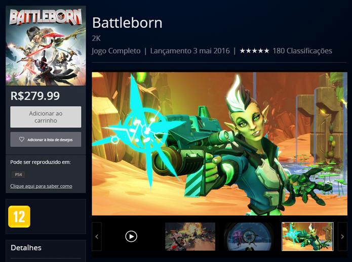Página de Battleborn na PlayStation Store (Foto: Reprodução/André Mello)