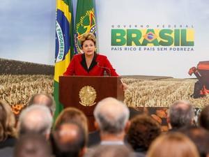 Dilma discursa durante lançamento do plano de financiamento para a safra 2013/2014 (Foto: Roberto Stuckert Filho/PR)