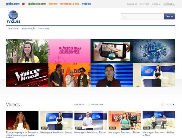 Catálogo de vídeos institucionais da Rede Clube armazena todas as vt's da programação de TV e do site (Foto: reprodução/Rede Clube)