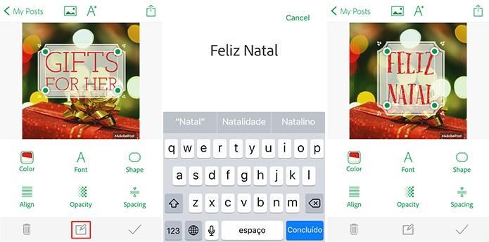 Adobe Post pode ter texto modificado para ser aplicado ao cartão virtual (Foto: Reprodução/Elson de Souza)