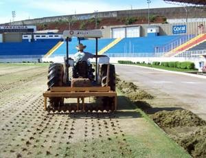 Gramado do Estádio Melão passa por revitalização (Foto: Assessoria de imprensa Boa Esporte)