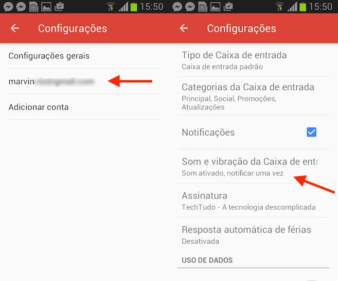Caminho para acessar as configurações para alertas sonoros no Gmail para Android (Foto: Reprodução/Marvin Costa)