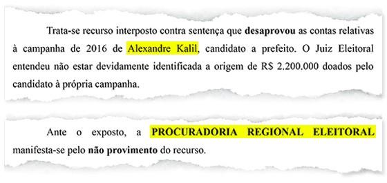 Reprodução do parecer do Ministério Público Eleitoral de Minas Gerais sobre a prestação de contas do prefeito de Belo Horizonte, Alexandre Kalil (Foto: Reprodução)