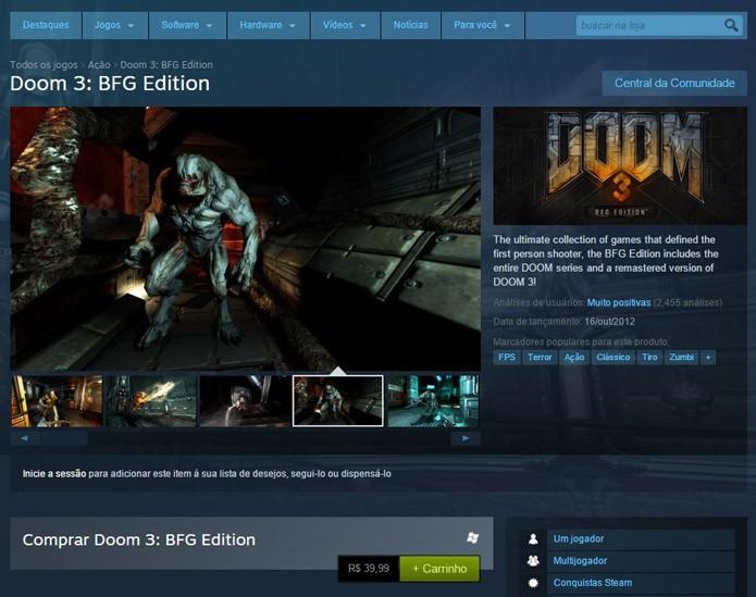 Página de Doom 3 BFG Edition no Steam (Foto: Reprodução/André Mello)