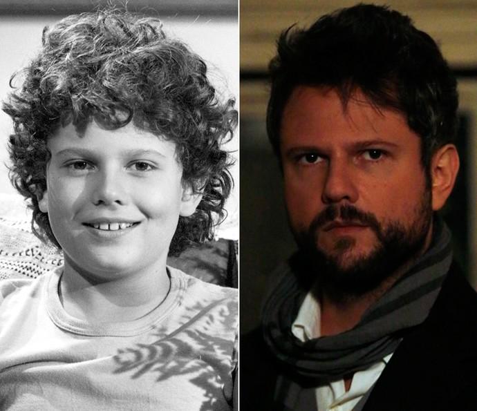À esquerda, Selton Mello aos 12 anos em sua estreia na TV Globo em 'Corpo a Corpo'. À direita, o ator caracterizado como o amoral e sedutor Augusto de 'Ligações Perigosas' (Foto: CEDOC / TV Globo / Ellen Soares / Gshow)