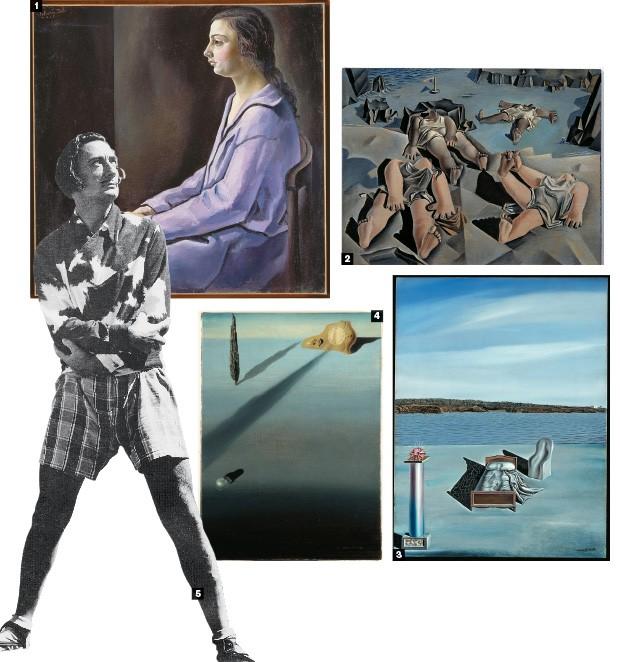 DO RETRATO AO SONHO 1. Retrato de mi hermana, de 1925 2. Figuras tumbadas en la arena, de 1926 3. El sentimiento de velocidad, de 1931 4. Composición surrealista con figuras invisibles, de 1936 5. Dalí, em 1951. Do figurativismo inicial, ele evoluiu rapidamente até encontrar seu próprio estilo (Foto: Pagina Daniel Farson/Getty Images e divulgação )