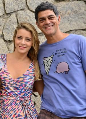 Christine Fernandes e Du Moscovis durante as gravações (Foto: Divulgação / Rede Globo)