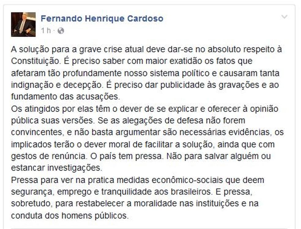 Post de Fernando Henrique Cardoso (Foto: Reprodução)