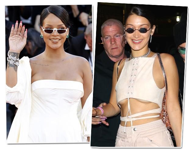 Rihanna e Bella Hadid com óculos setentinha (Foto: AKM Images)