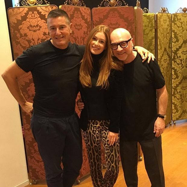 Marina Ruy Barbosa com o estilista Stefano Gabbana em Milão, na Itália (Foto: Instagram/ Reprodução)