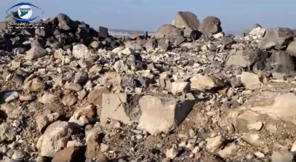 Vídeo produzido por organização de direitos humanos registra a destruição do monumento (Foto: Observatório Sírio de Direitos Humanos)
