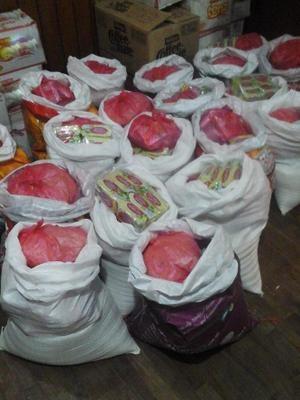 Cestas básicas compradas pelo projeto voluntário no Nepal (Foto: Loani Rossi/Arquivo pessoal)