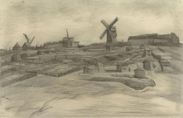 """A obra """"The Hill of Montmartre"""" que até então tinha autoria questionável, consequente foi atribuída a Van Gogh, pela semelhança estilística (Foto: Museu Van Gogh)"""