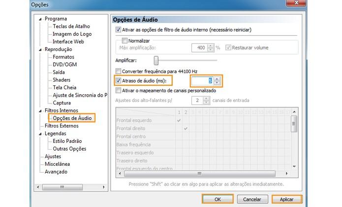 Ajuste o atraso de áudio pelo Media Player Classic (Foto: Reprodução/Barbara Mannara)
