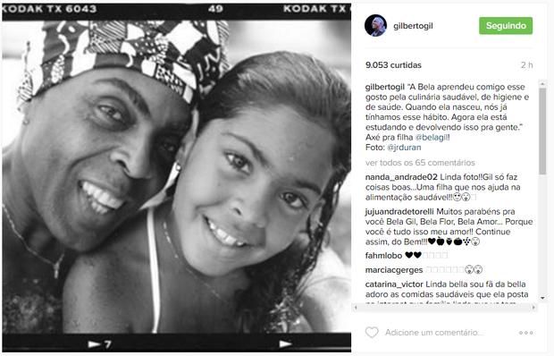 Gilberto Gil em post na web (Foto: Reprodução/Instagram)