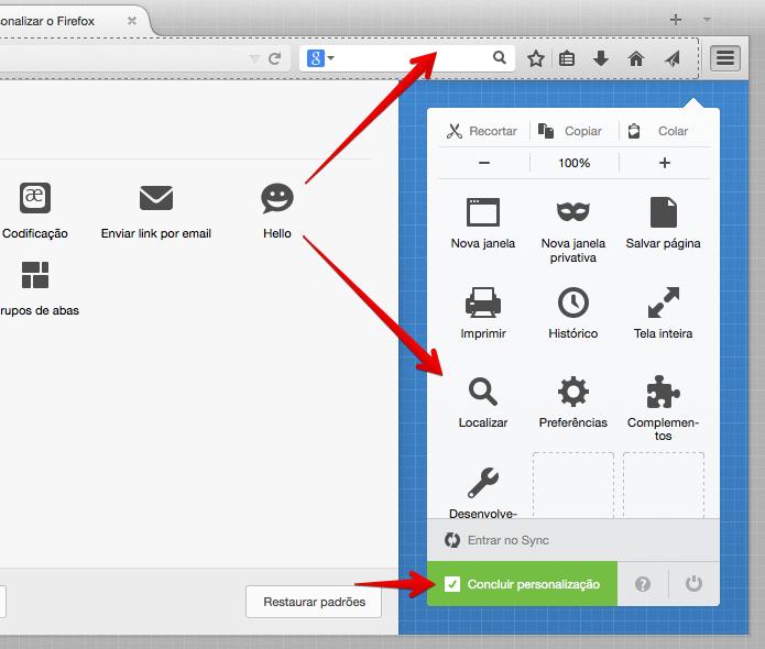 Adicione o ícone à barra de ferramentas ou ao menu (Foto: Reprodução/Helito Bijora)