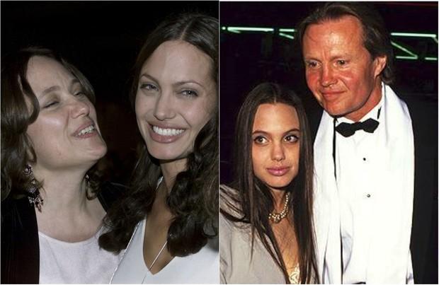 Angelina Jolie com a mãe, Marcheline Bertrand,e o pai, James Haven Voight  (Foto: Getty e AFP)