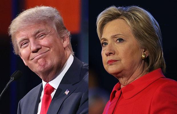Donald Trump e Hillary Clinton, candidatos à presidência dos EUA (Foto: Chip Somodevilla/Spencer Platt/Getty Images)