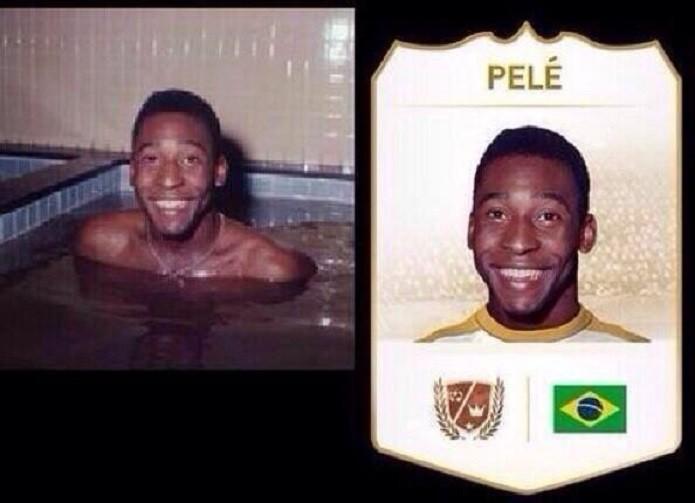 FIFA 14 usou foto de Pelé em uma banheira para a imagem do rosto do jogador. (Foto: Reprodução/reddit)