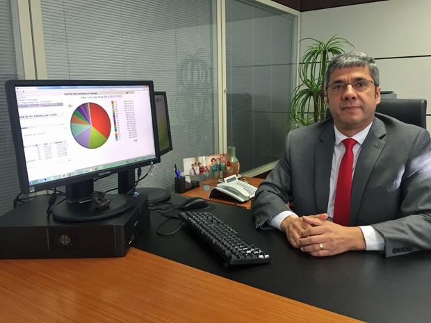 Secretário-adjunto de Fazenda, Wilson José de Paula, usando sistema utilizado por fiscais do GDF (Foto: Gabriel Luiz/G1)