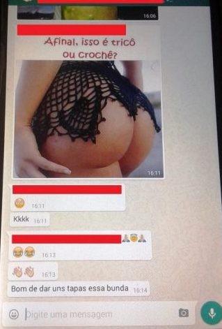 Imagem de aelo erótico com bunda de mulher foi publicada no Whastapp (Foto: Reprodução/Rede social)