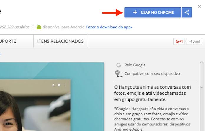 Página de instalação da extensão Google Hangouts para Google Chrome (Foto: Reprodução/Marvin Costa)