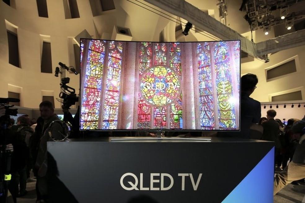Televisão de QLED da Samsung na CES 2017. (Foto: Rodrigo Ortega/G1)