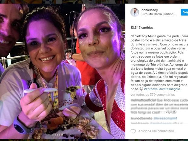 Cantora Ivete Sangalo come castanhas e frutas em cima do trio (Foto: Reprodução/ Instagram)