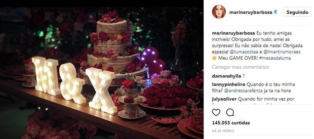 Marina Ruy Barbosa falou sobre as surpresas das amigas em seu Instagram (Foto: Reprodução/Instagram)