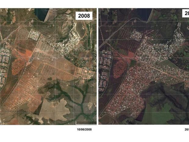 Imagens de satélite mostram a evolução das ocupações clandestinas no Altiplano Leste, no Paranoá (Foto: MPDFT/Divulgação)