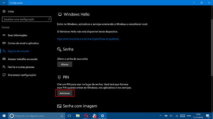 Clique em Adicionar para criar um novo PIN para o Windows 10 (Foto: Reprodução/Elson de Souza)