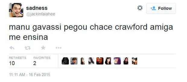 Internautas comentam ficada de Chace Crawford e Manu Gavassi (Foto: Reprodução/Twitter)