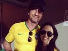Tatá Werneck tieta Gerard Butler em jogo do Brasil