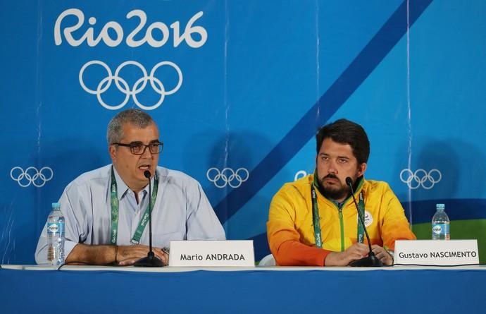 Mario Andrada e Gustavo Nascimento em coletiva de imprensa no Maria Lenk (Foto: Getty Images)