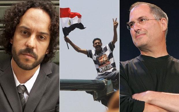 Prova teve letra de música de Gabriel o Pensador, questão sobre conflitos no Egito e texto sobre Steve Jobs (Foto: Ramon Moreira/Divulgação/AP/Toshiyuki Aizawa/Reuters)