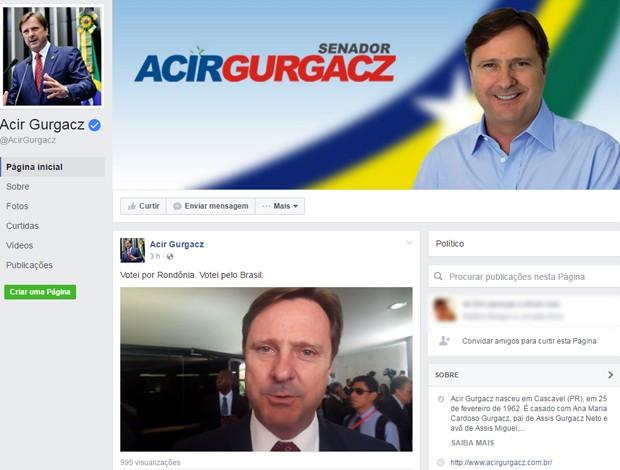 Senador Acir Gurgacz publicou vídeo para justificar voto pró-impeachment (Foto: Reprodução/Facebook)