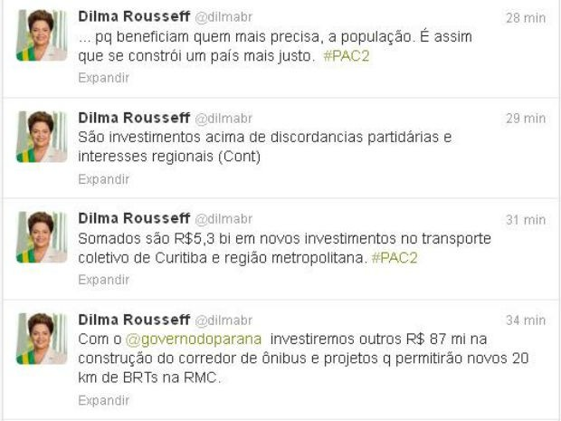 Presidente anunciou investimentos para a mobilidade urbana em Curitiba e Região Metropolitana via twitter (Foto: Reprodução)