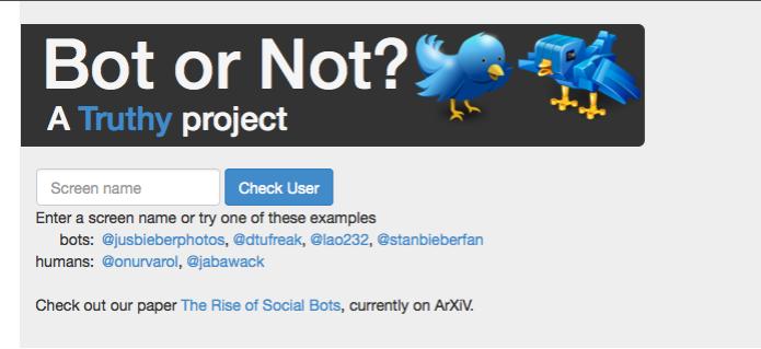 Site só requer a inserção do nome do perfil para averiguar seu comportamento e dizer se é um bot (Foto: Reprodução/BotorNot)