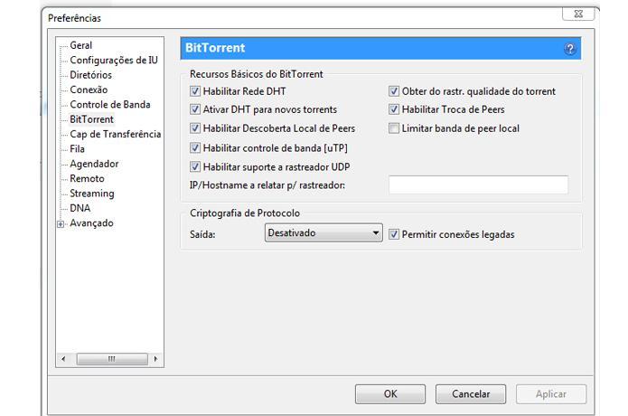 Configurações BitTorrent (Foto: Reprodução/Ramon Cardoso)